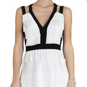 BCBG White Hartley Pleated Dress, Sz 0